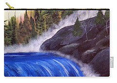 Carry-all Pouch featuring the painting Water Fall By Rocks by Brenda Brown