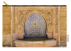 Carry-all Pouch featuring the photograph Water Fountain Mausoleum Of Mohammed V Opposite Hassan Tower Rabat Morocco  by Ralph A  Ledergerber-Photography
