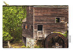 Carry-all Pouch featuring the photograph Water Wheel At Philipsburg Manor Mill House by Jerry Cowart