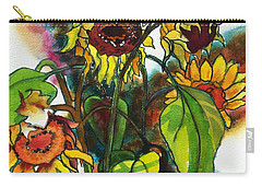 Carry-all Pouch featuring the painting Sunflowers On The Rise by Kathy Braud