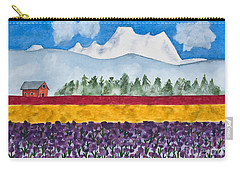 Watercolor Painting Landscape Of Skagit Valley Tulip Fields Art Carry-all Pouch