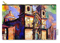 Watercolor Painting Of Church On The Plaza De Armas Cusco Peru Carry-all Pouch