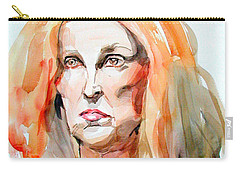 Carry-all Pouch featuring the painting Watercolor Portrait Of A Mad Redhead by Greta Corens