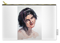 Watercolor Portrait Of A Young Pensive Woman With Headband Carry-all Pouch