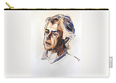 Carry-all Pouch featuring the painting Watercolor Portrait Sketch Of A Man In Monochrome by Greta Corens