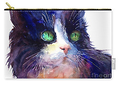 Watercolor Tuxedo Tubby Cat Carry-all Pouch