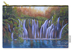 Carry-all Pouch featuring the painting Waterfalls - Plitvice Lakes by Vesna Martinjak