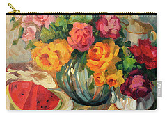 Watermelon And Roses Carry-all Pouch by Diane McClary