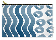 Waves And Pebbles- Abstract Watercolor In Indigo And White Carry-all Pouch
