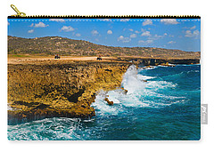 Waves Breaking At The Coast, Aruba Carry-all Pouch