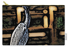 Carry-all Pouch featuring the digital art Wc Great Blue by David Lane