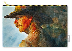 Carry-all Pouch featuring the painting Weathered Cowboy by Jani Freimann