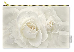 Wedding Day White Roses Carry-all Pouch by Jennie Marie Schell