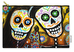Carry-all Pouch featuring the painting Wedding Dia De Los Muertos by Pristine Cartera Turkus