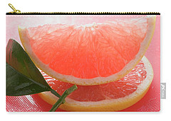 Wedge Of Pink Grapefruit On Slice Of Grapefruit With Leaf Carry-all Pouch