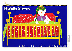 Welsh Snowman Bedtime  Carry-all Pouch by Barbara Moignard