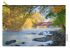 Carry-all Pouch featuring the photograph West Cornwall Covered Bridge Autumn by Bill Wakeley