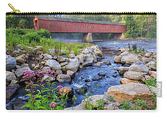 Carry-all Pouch featuring the photograph West Cornwall Covered Bridge Summer by Bill Wakeley
