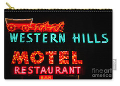Western Hills Motel Sign Carry-all Pouch by Sue Smith