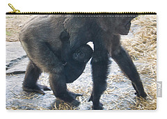Western Lowland Gorilla With Baby Carry-all Pouch by Chris Flees