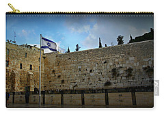 Western Wall And Israeli Flag Carry-all Pouch by Stephen Stookey