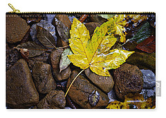 Wet Autumn Leaf On Stones Carry-all Pouch