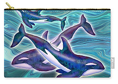 Carry-all Pouch featuring the mixed media Whale Whimsey by Teresa Ascone