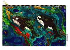 Whales At Sea - Orcas - Abstract Ink Painting Carry-all Pouch