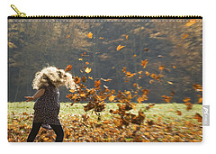 Carry-all Pouch featuring the photograph Whirling With Leaves by Carol Lynn Coronios