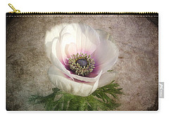Carry-all Pouch featuring the photograph White Anemone by Barbara Orenya