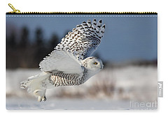 White Angel - Snowy Owl In Flight Carry-all Pouch by Mircea Costina Photography