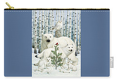 White Animals Red Bird Carry-all Pouch