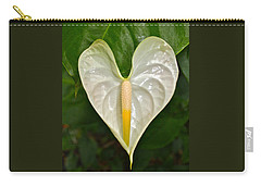 White Anthurium Heart Carry-all Pouch by Venetia Featherstone-Witty