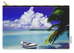 White Boat On A Tropical Island Carry-all Pouch