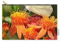 White Butterfly On Mexican Flame Carry-all Pouch