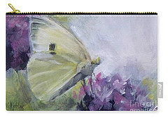 White Butterfly 2 Carry-all Pouch by Mary Hubley