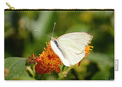 Carry-all Pouch featuring the photograph White Butterfly On Mexican Flame by Debra Martz