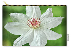 White Clematis Carry-all Pouch by Richard Farrington