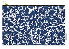 White Coral On Blue Pattern Carry-all Pouch