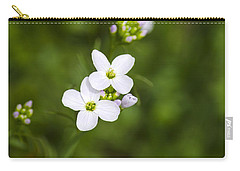 White Cuckoo Flowers Carry-all Pouch by Christina Rollo