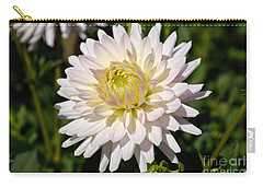 White Dahlia Flower Carry-all Pouch