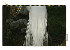 White Egret In The Shadows Carry-all Pouch by Myrna Bradshaw