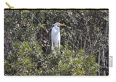 Carry-all Pouch featuring the photograph White Egret In The Swamp by Christiane Schulze Art And Photography