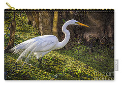 White Egret On The Hunt Carry-all Pouch by Marvin Spates