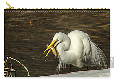 White Egret Snowy Bank Carry-all Pouch by Robert Frederick