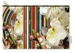 White Flower Medley Colorful Rainbow Stripes On The Backdrop Artist Navinjoshi  Carry-all Pouch by Navin Joshi