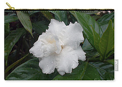 Carry-all Pouch featuring the photograph White Flower by Sergey Lukashin