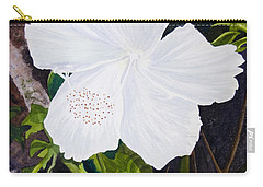 White Hibiscus Carry-all Pouch by Mike Robles