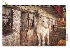 White Horse By An Old Barn Carry-all Pouch
