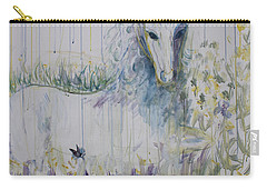 Carry-all Pouch featuring the painting White Horse In The Rain by Avonelle Kelsey